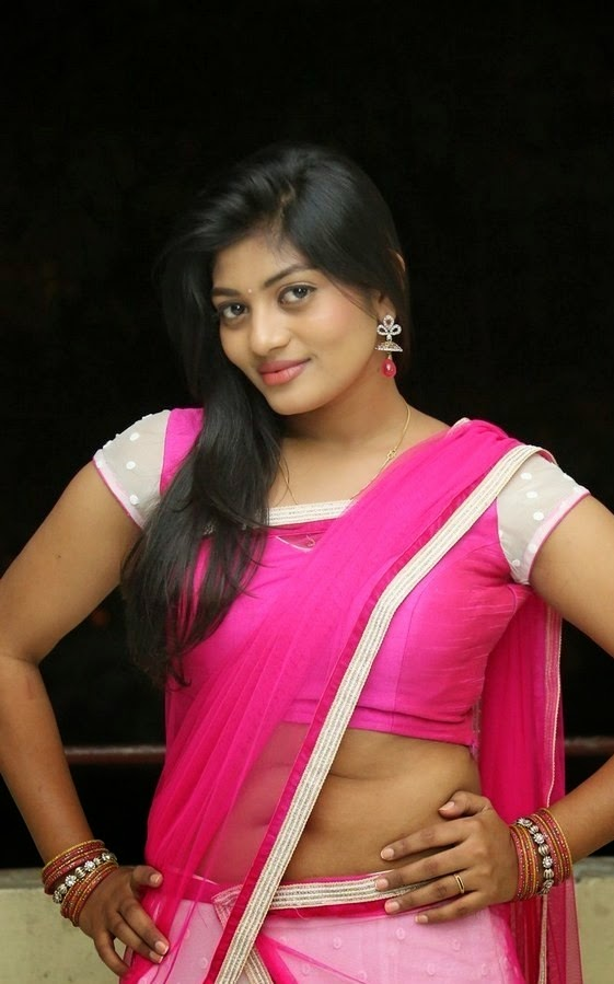 Actress Sowmya Latest Cute Hot Transparent Exclusive Pink Saree Navel Show Spicy Photos Gallery