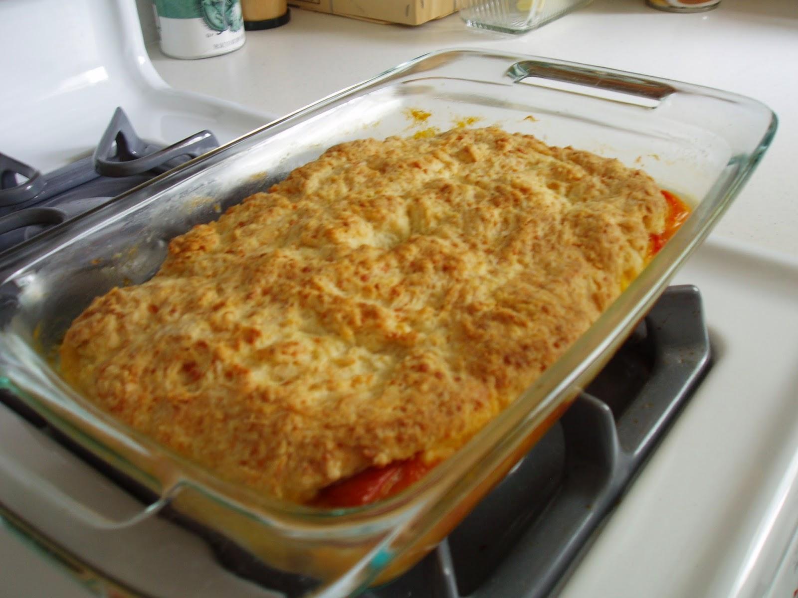 tomato parmesan biscuit cobbler