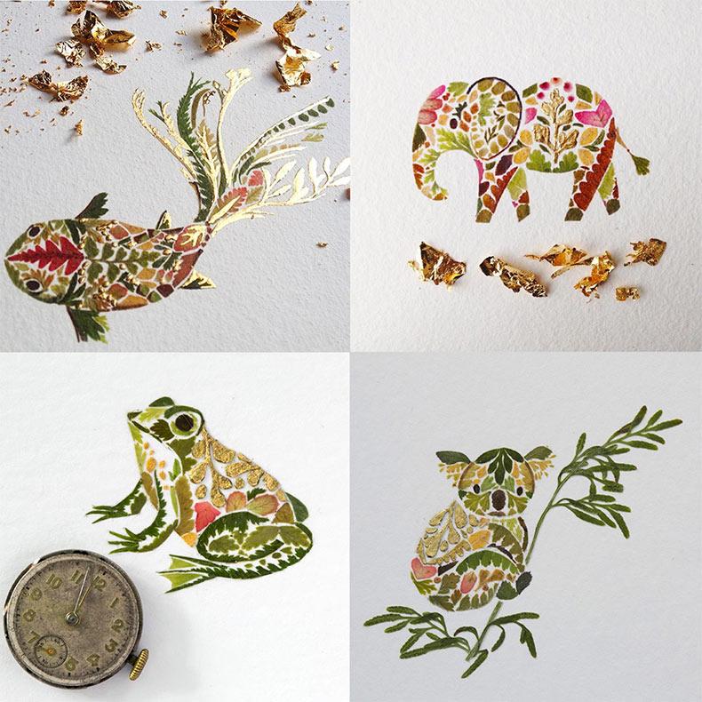 Helecho, algas, y hojas doradas ilustraciones de Helen Ahpornsiri