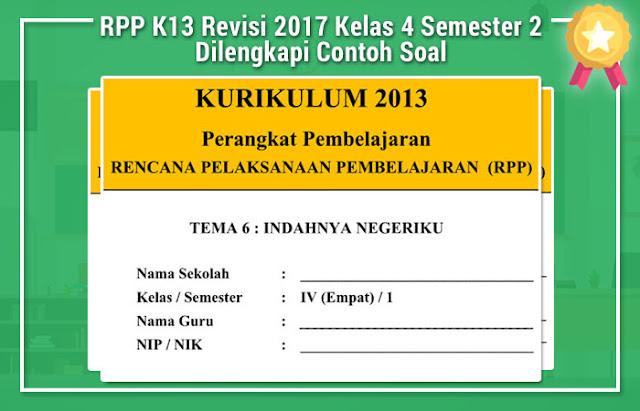 RPP K13 Revisi 2017 Kelas 4 Semester 2 Dilengkapi Contoh Soal