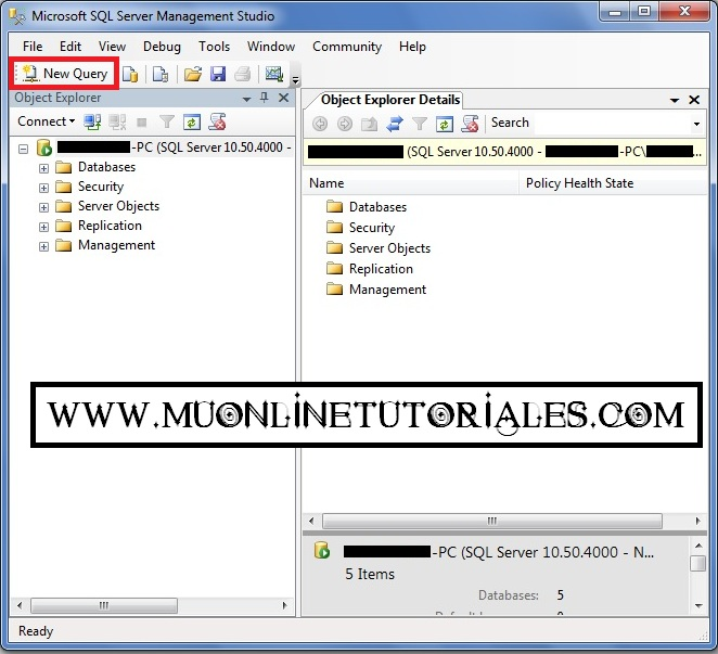 Visualizando la interfaz del SQL Server 2008