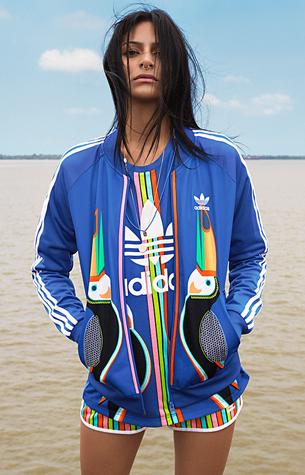 Farm e Adidas Originals quarta coleção jaqueta Tukana firebird e shorts
