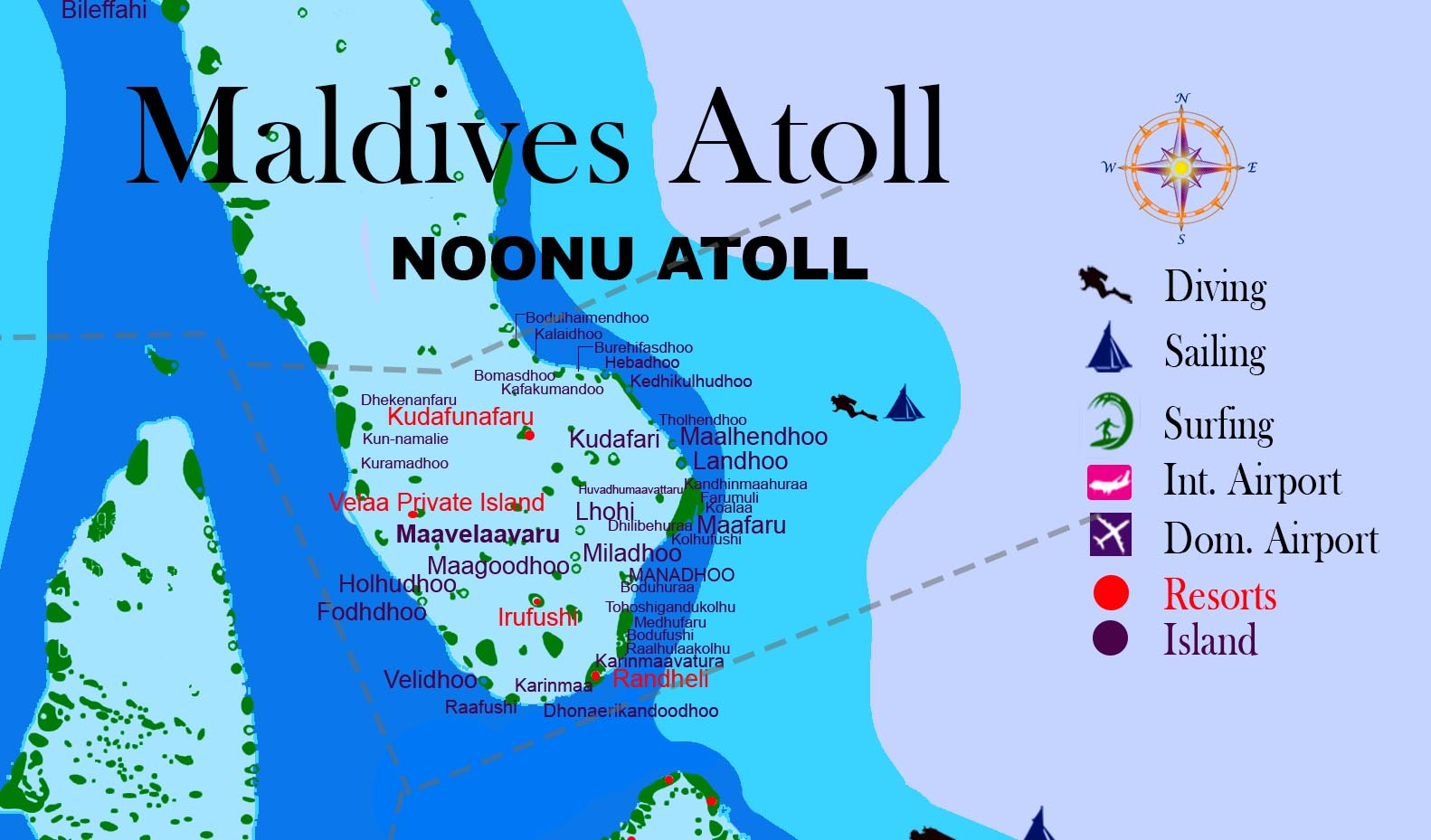 Maldives Atoll NOONU ATOLL Island name resorts and hotel Travel