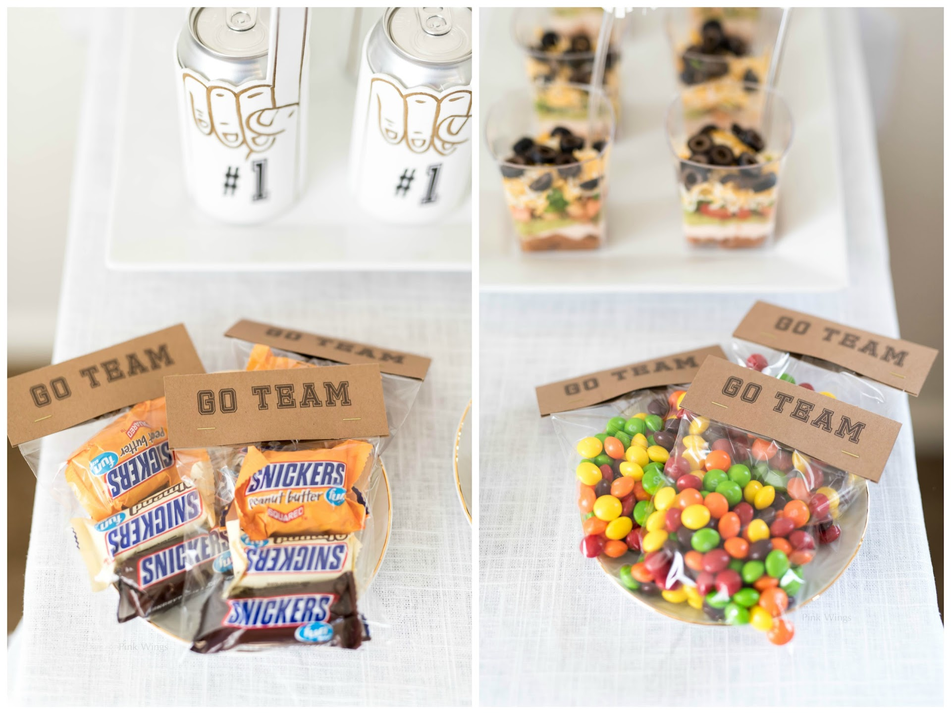 diy party crafts, party candy bags, custom snacks treats, party favor ideas, tailgating, football party favor ideas