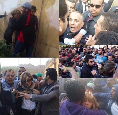 فيديو وصور ضرب وطرد لميس الحديدي وأحمد موسى من أمام الكاتدرائية ف العباسية