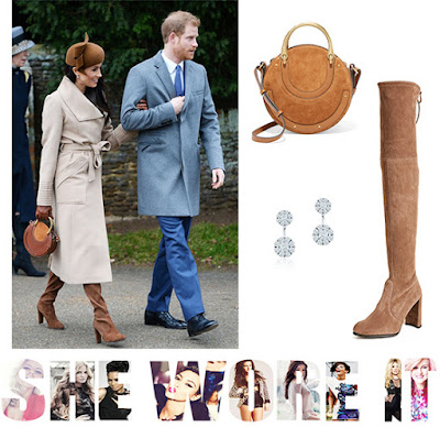 Chloe, Christmas, Meghan Markle, Nutmeg, Royal Family, Sentaler, Stuart Weitzman, Suede, Tan, Thigh High Boots,