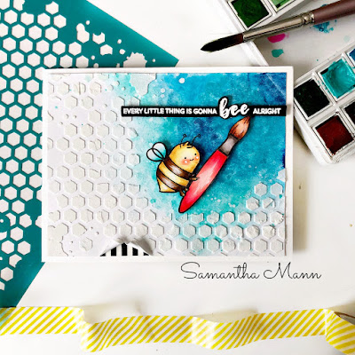Every Little Thing is Gonna Bee Alright Card by Samantha Mann, World Bee Day, Create a Smile Stamps, Embossing Paste, Stencil, Watercolor, Bees, Cards, Handmade Cards, #bee #worldbeeday #cards #createasmile #watercolor