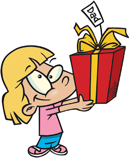 Clipart Image of a Little Blonde Girl Holding a Gift for Dad