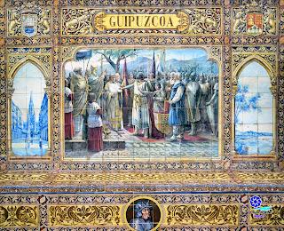 Plaza de España - Sevilla - Azulejo de Guipúzcoa: Tríptico y base del banco
