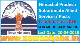 Himachal+Pradesh+Subordinate+Allied+Services+scheme+of+Examination-2016
