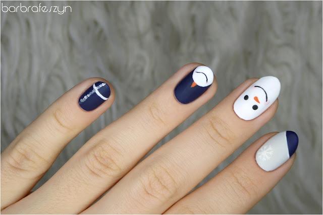 bałwanki na paznokciach