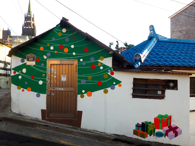 Christmas tree street art in the Ji-dong mural village in Suwon, South Korea