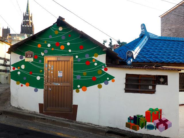 Christmas tree street art in the Ji-dong mural village in Suwon, South Korea