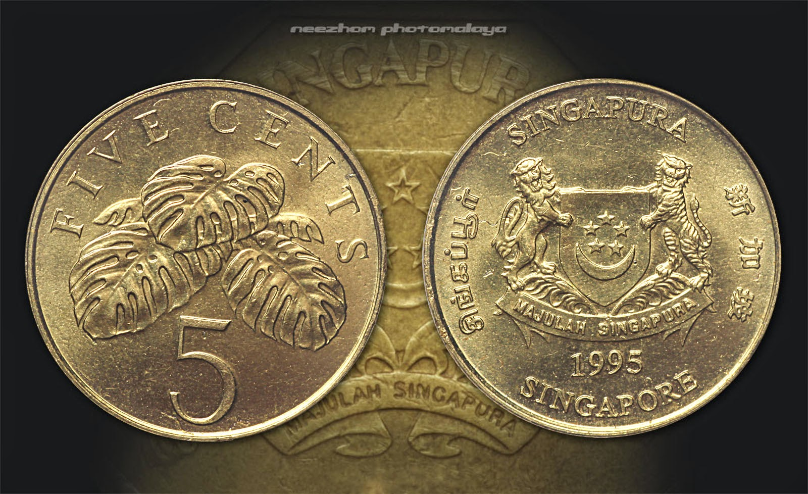 Singapore coin 5 cents 1995