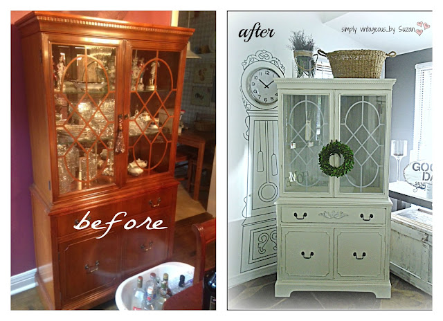 ASCP OLD WHITE/PARIS GREY PAINTED HUTCH