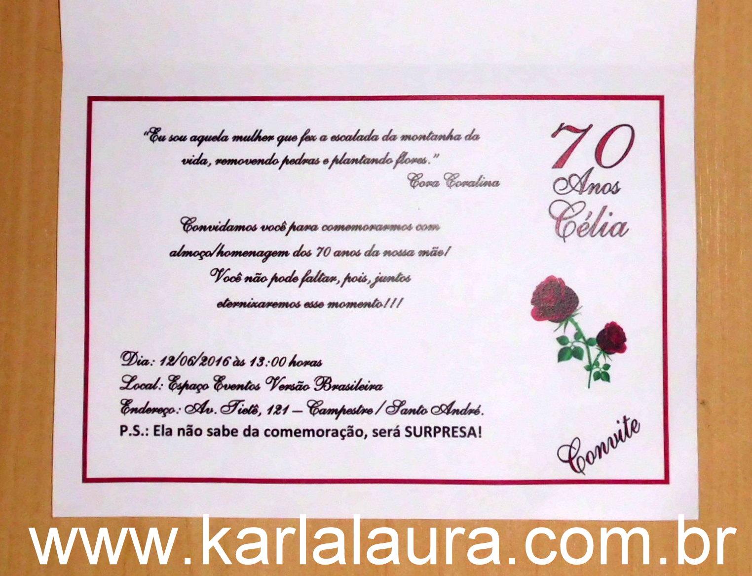 Convite De Aniversário Adulto Sara E Célia Karla Laura Convites