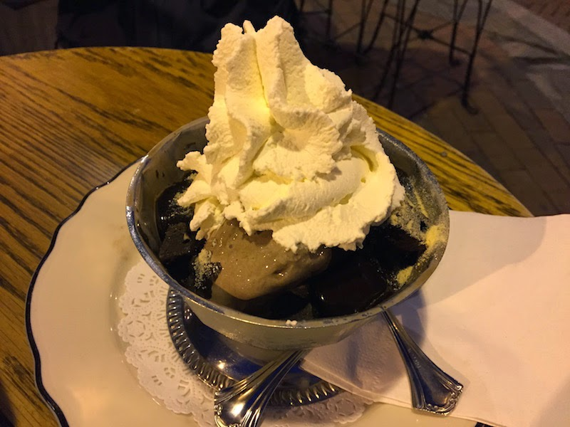 Mt. Vesuvius ice cream sundae at Franklin Fountain in Philadelphia