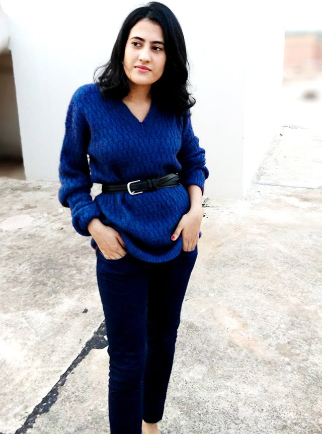 how to wear all blue look,shade of blue