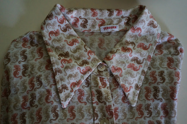 seahorse print 70s shirt blouse