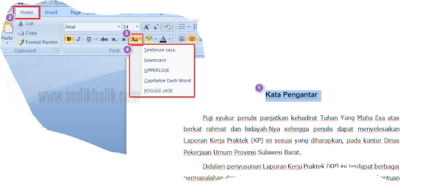 Teknik Mengatur Format Huruf/Font di Word