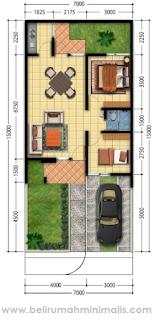 Denah rumah minimalis 2 kamar tidur sempit