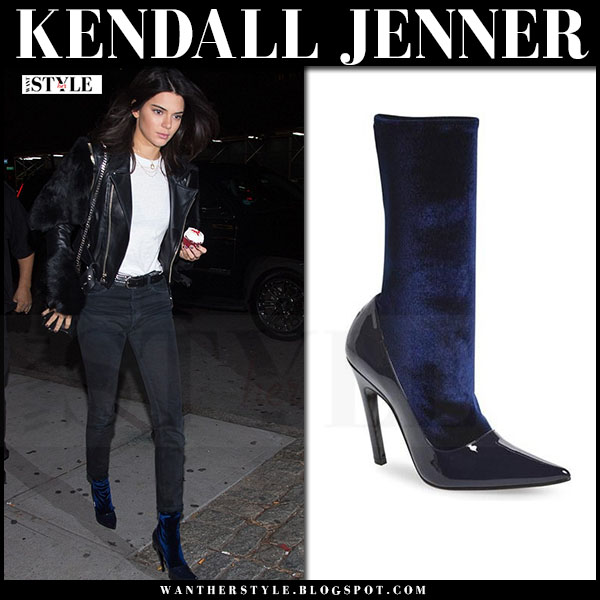 Kendall Jenner in blue velvet ankle balenciaga boots what she wore model style