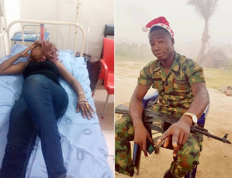 Upcoming Nollywood actress flogged by soldier in Port Harcourt
