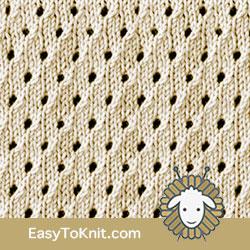 Eyelet lace 26: Staggered Eyelet | Knitting Stitch Patterns.