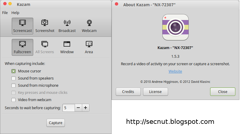 Kazam 1 5 3 Software to Record Video From WebCam Linux