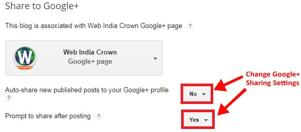 Manage Sharing to Google+