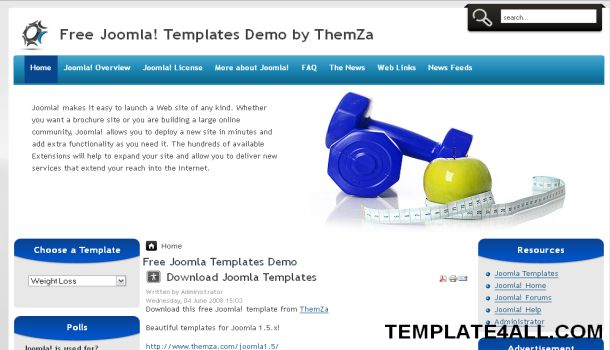 Free Joomla Weight Loss Blue Template