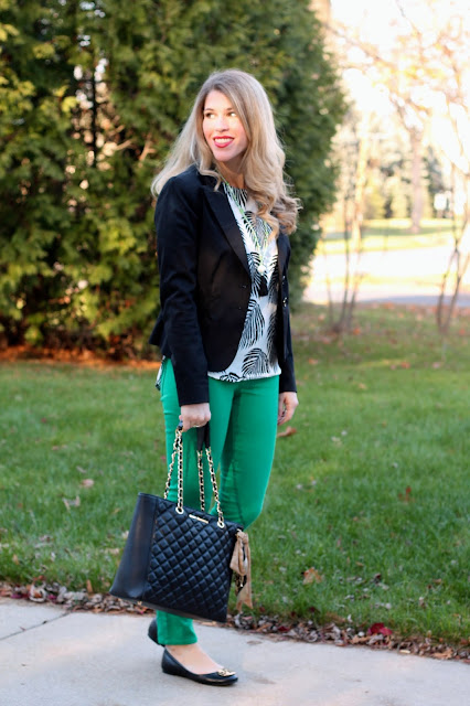 palm print top, black blazer, green jeans, tassel necklace, greg michaels tote
