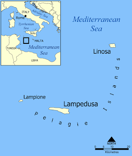 Pelagie Islands map, Sicily