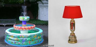 Fuente y lámpara hecha con cosas recicladas