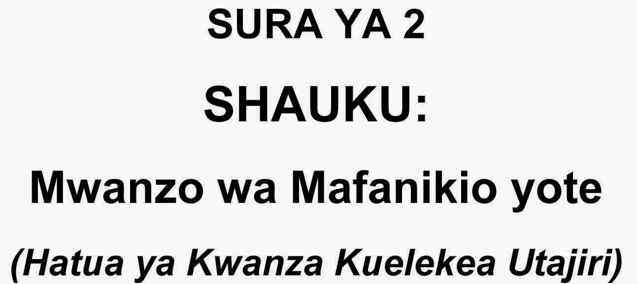 SHAUKU: MWANZO WA MAFANIKIO YOTE(HATUA YA KWANZA KUELEKEA