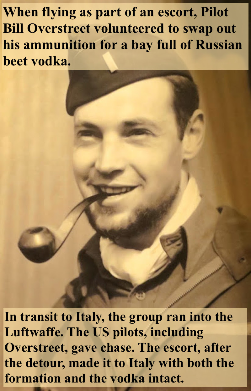 Portrait of WWII pilot Bill Overstreet, in uniform, flashing a dashing grim while holding a pipe in his teeth. Story of Overstreet ditching ammunition to bring back a bay full of vodka to fellow soldiers in Italy,  Overstreet and Mad Jack and other stories of pilots. marchmatron.com