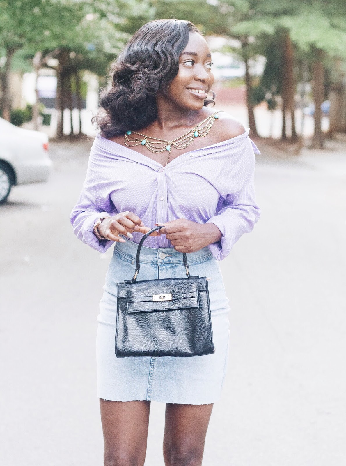 shirt into an off the shoulder top