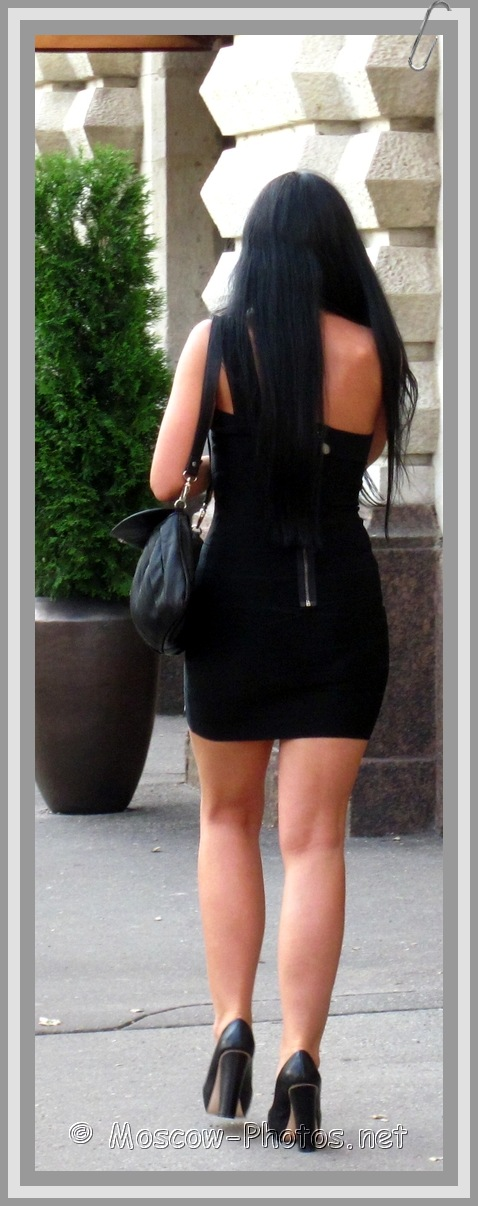 Tight Black Mini Dress and High Heels
