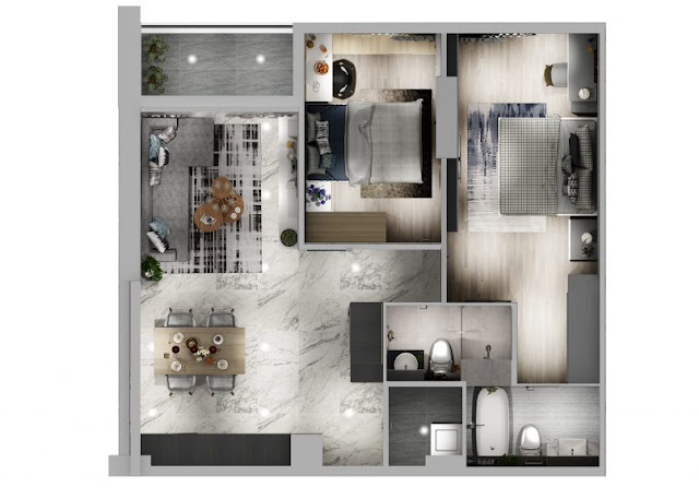 Thiết kế chung căn hộ Sơn Trà Ocean View 2 phòng ngủ