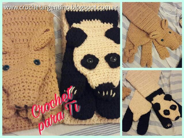 Bufanda Puerquito y Panda - Crochet ~ Crochet para Ti