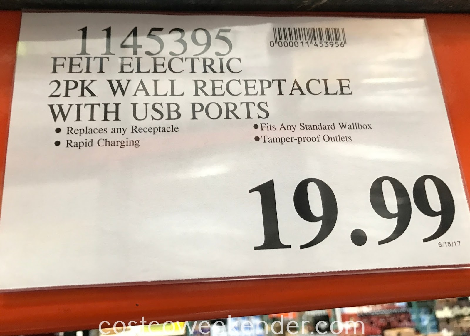 Deal for a 2 pack of Feit Electric Wall Outlets with USB Ports at Costco