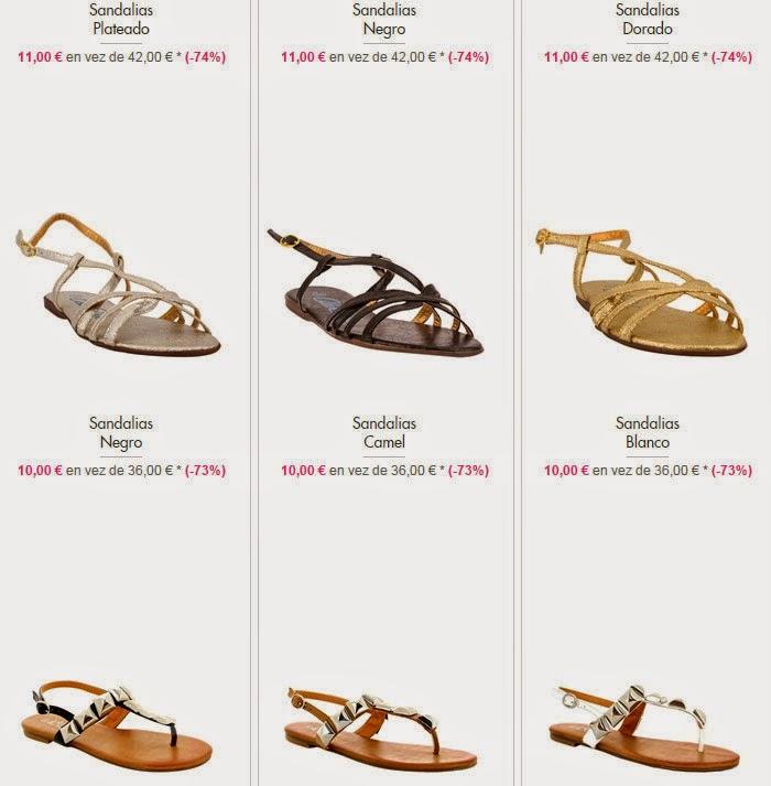 Ejemplos de sandalias planas a la venta