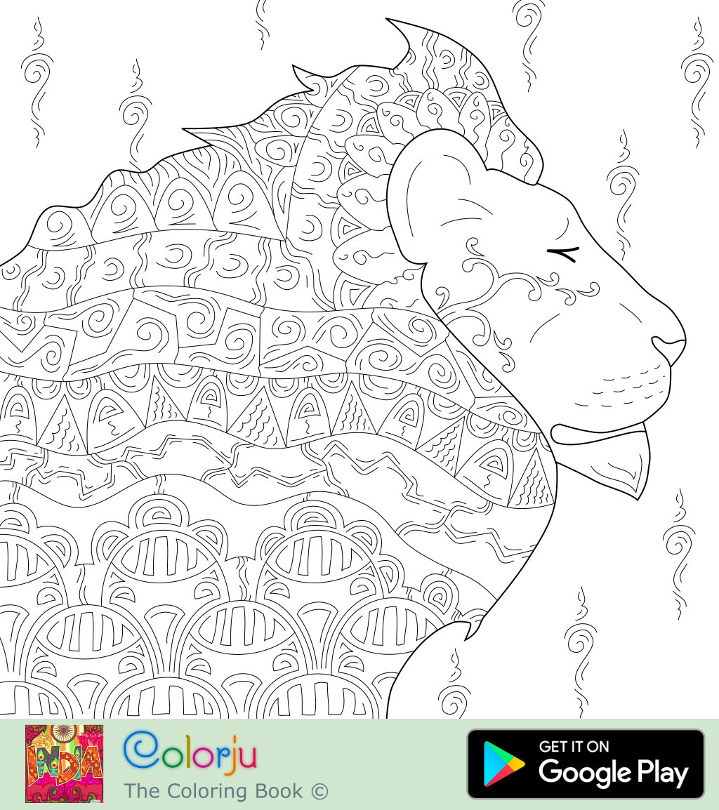 Bohemian Lion Male Head With Patterns Abstract Realistic Spirit Animal Adult Coloring Pages