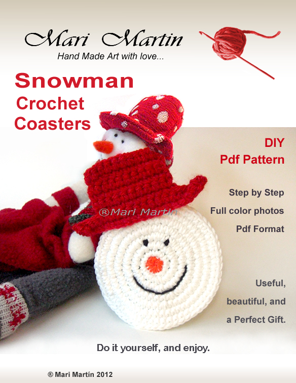 Thinking Of Christmas Crochet Coasters Snowman Crochet Colorful