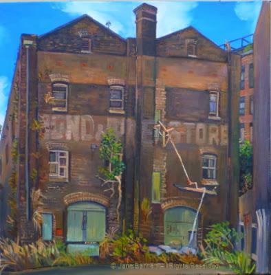 Plein air oil painting of dilapidated bond store in Pyrmont  by industrial heritage artist Jane Bennett