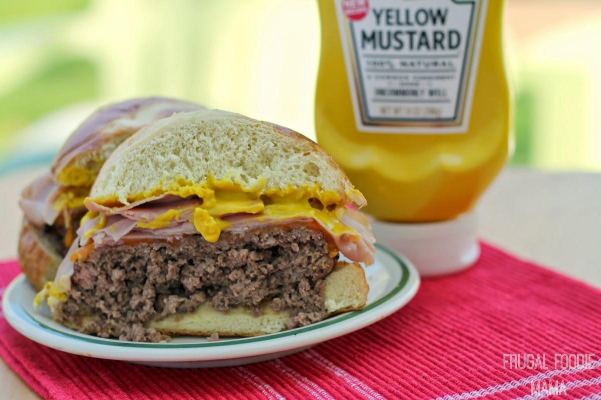 Bavarian Ham Burger- a juicy burger topped with ham, cheddar cheese, & Heinz Yellow Mustard on a pretzel bun #KetchupsNewMustard #ad