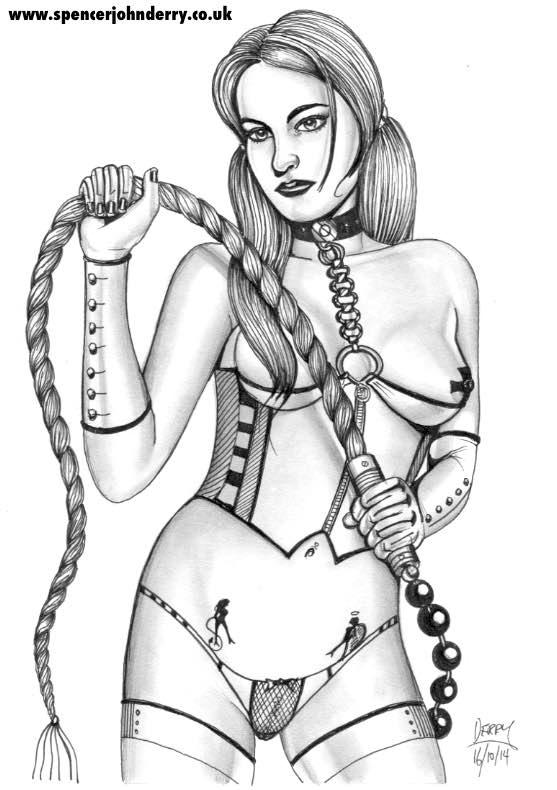 Whiplash Lady • Erotic Fetish Art Drawing