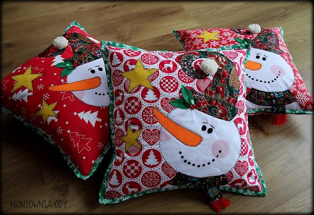 Świąteczne poduszki z bałwankami
