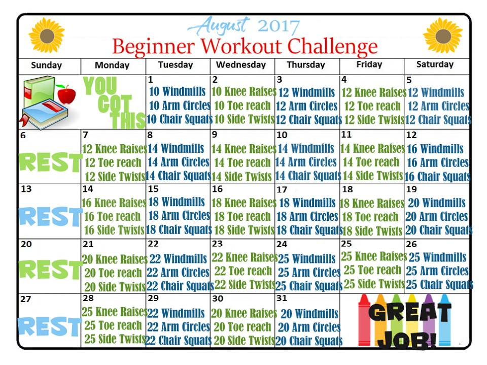 August Beginners Fitness Challenge for end of summer exercises that you can as indoor workout.