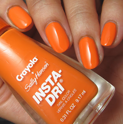 swatches and review of Sally Hansen + Crayola Sunset Orange nail polish